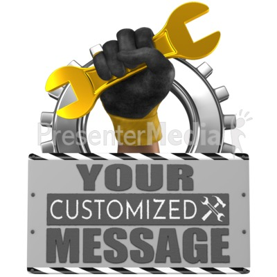 Hand Holding Wrench With Sign Presentation clipart