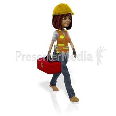 Female Construction Worker Toolbox Presentation clipart