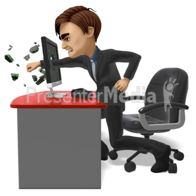 Businessman Punch Screen Presentation clipart