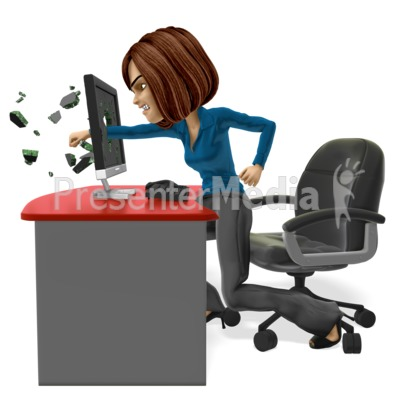 Business Woman Punch Screen Presentation clipart