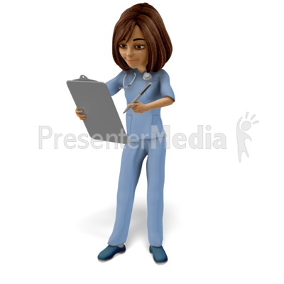 Nurse Looking Over Chart Presentation clipart