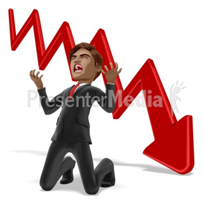 Businessman Despair Graph Presentation clipart