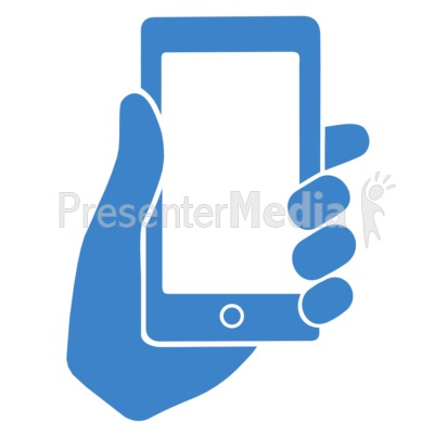 Hand Holding Phone Outline Presentation clipart