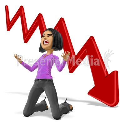 Business Woman Despair Graph Presentation clipart