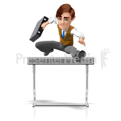 Businessman Briefcase Hurdle Presentation clipart