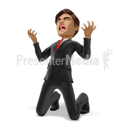 Businessman On Knees In Despair Presentation clipart