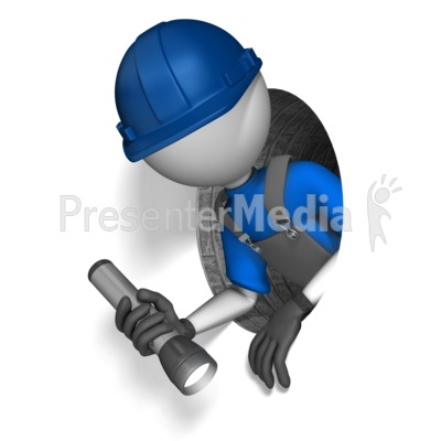 Figure Climing Through Small Hole Presentation clipart