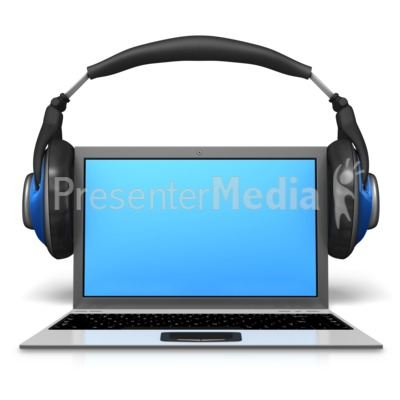 Headphones On Laptop Presentation clipart