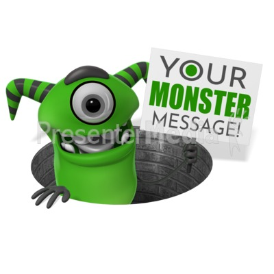 Monster Pop Out Of Hole Sign Presentation clipart