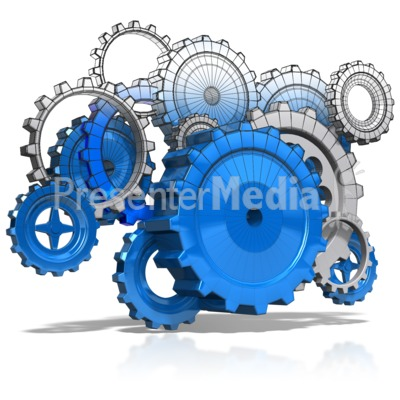 Wireframe Gears Presentation clipart