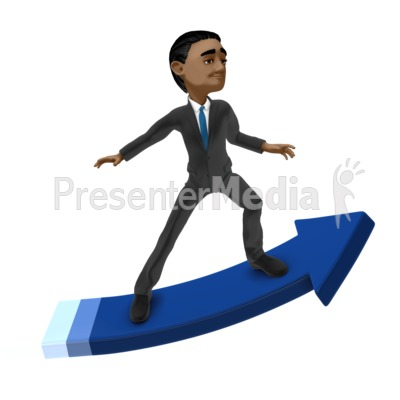 Businessman Surfing Arrow Presentation clipart