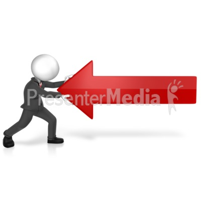 Man Pushing Against Arrow Presentation clipart