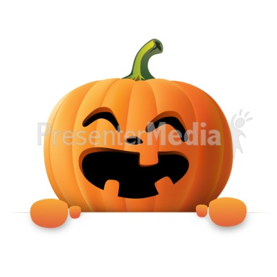 Happy Pumpkin Holding Blank Sign Presentation clipart