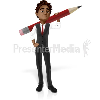Brad Holding Oversized Pencil Presentation clipart