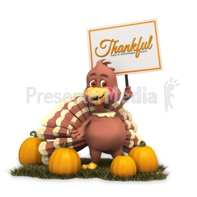 Turkey Holding Sign Presentation clipart