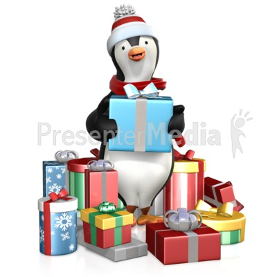 Penguin In A Pile Of Gifts Presentation clipart