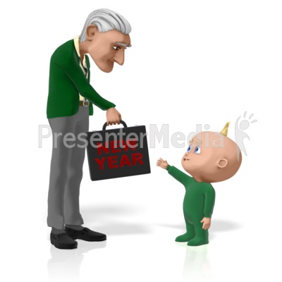 Old New Businessman New Year Presentation clipart