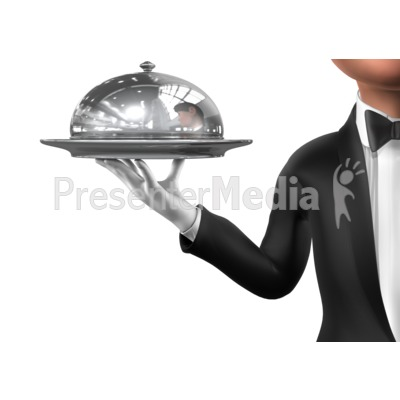 Holding Elegant Closed Platter Presentation clipart