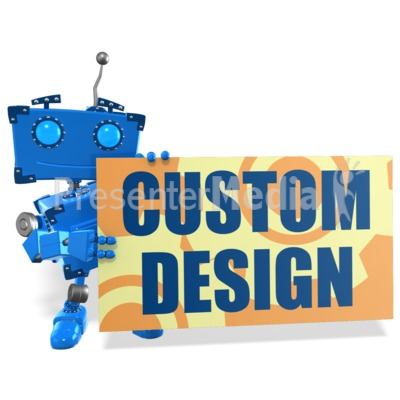 Boxy Robot Sign Custom Presentation clipart