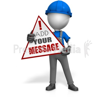 Worker Holding Custom Sign Presentation clipart