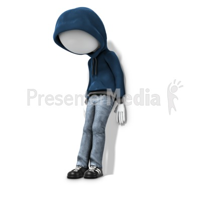 Youth Depressed Against Wall Presentation clipart