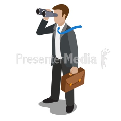Businessman Watching Binoculars Presentation clipart