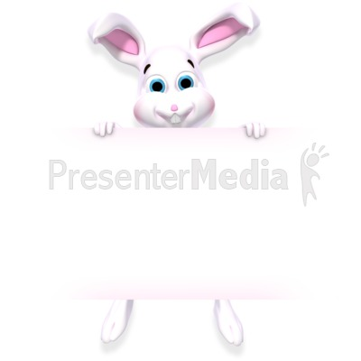 Bunny Holding Sign Presentation clipart