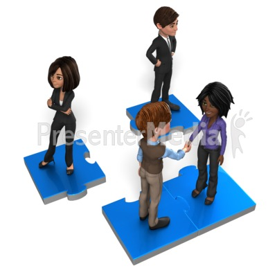 Business People On Puzzle Presentation clipart