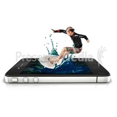 Surfer Phone Splash Presentation clipart