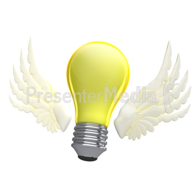 Light Bulb With Wings Presentation clipart