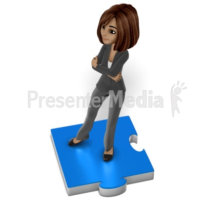 Business Woman Puzzle Piece Presentation clipart