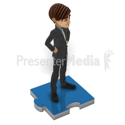 Businessman Puzzle Piece Presentation clipart