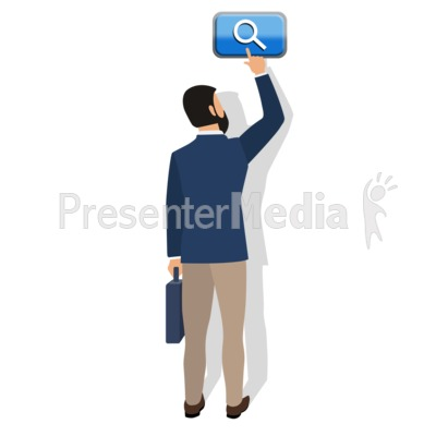 Business Man Touch Search Button Presentation clipart