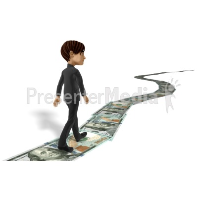 Businessman Walking Money Trail Presentation clipart