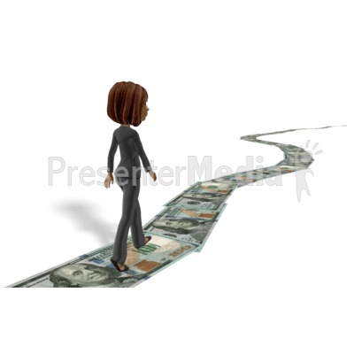 Business Woman Walking Money Trail Presentation clipart
