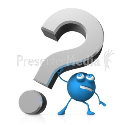 Roundy Holding Up Question Mark Presentation clipart