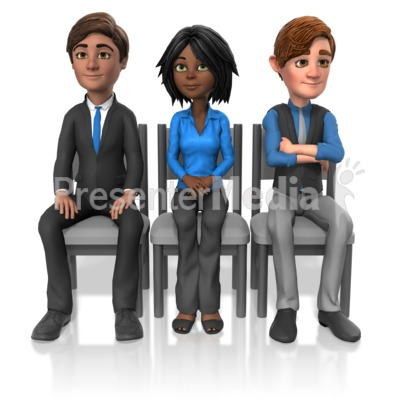 Business People Sit Look Presentation clipart