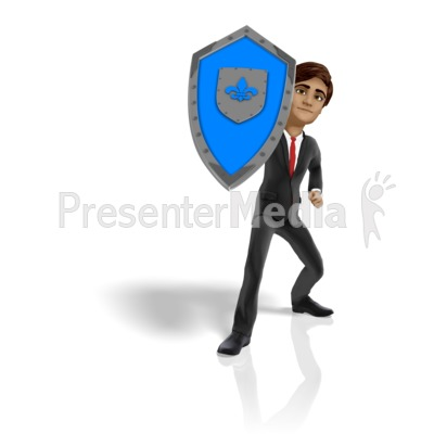 Businessman Shield Protect Presentation clipart