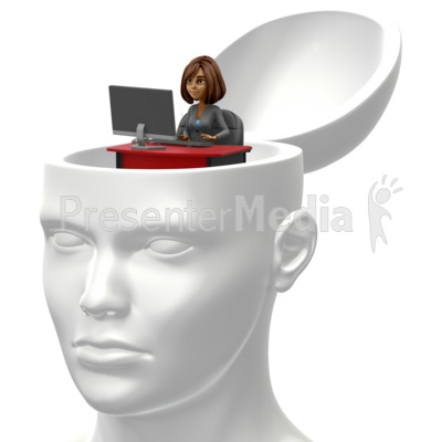 Business Woman Inside Head Presentation clipart