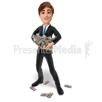 Businessman Hold Stack Money Presentation clipart