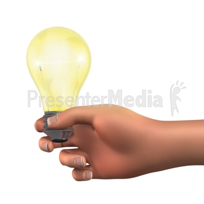 Holding Light Bulb Solution Presentation clipart