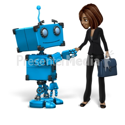 Robot Talia Business Handshake Presentation clipart