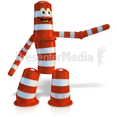 Construction Cone Figure Pointing To Sid Presentation clipart