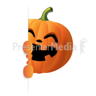 Happy Pumpkin Holding Side Sign Presentation clipart