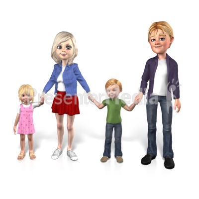 Family Together Two Children Presentation clipart