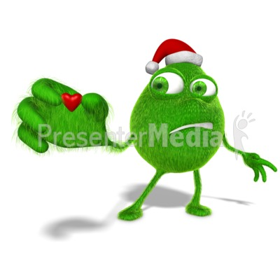 Grinchy Character Holding Tiny Heart Presentation clipart