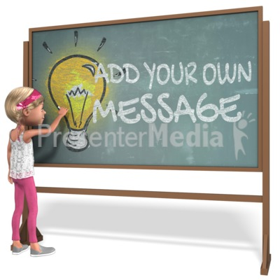 Girl Student Chalkboard Custom Presentation clipart