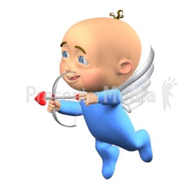 Cupid Baby Aiming With Heart Bow Presentation clipart