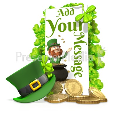 St Patricks Shamrock Hat Sign Custom Presentation clipart