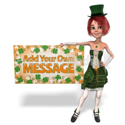 St Paddy Hold Sign Custom Presentation clipart